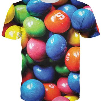 Blue, Green, Orange, Pink, Yellow Skittles Candy Tee Shirt