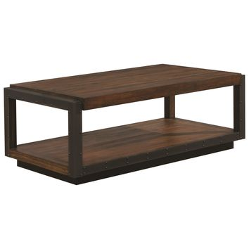 Cottage Style Coffee Table With Metal And Nail Head Accents, Bourbon Brown - 705658