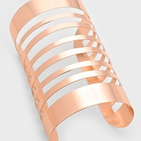 "4.20"" rose gold cut out cage cuff bracelet bangle"