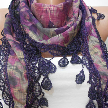 Violet Purple Floral Scarf Shawl, Checked Two Sided Cowl Scarf with Lace Edge, Women's Fashion Accessory, Gift For Mom For Her, ScarfClub