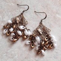 Butterfly Beaded Earrings Filigree Brass Findings Pierced Post Artisan Hand Made