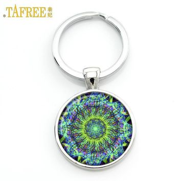 TAFREE Key chain Mandala Art Picture Glass Cabochon pendant Keychains Sacred Geometry Yoga Om Fashion Jewelry Key ring M01-17