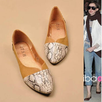 2016 spring new women shoes  fashion snake print pointed flat shoes Women flats large size shoes 35-41