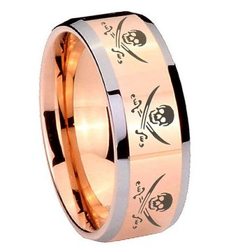 10MM Beveled Multiple Skull Pirate Rose Gold IP 2 Tone Tungsten Carbide Men's Ring