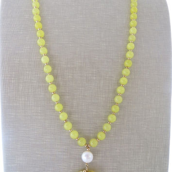 Yellow jade necklace, long pendant necklace, beaded necklace, carved jade jewelry, gemstone jewelry, modern jewelry, color block jewelry