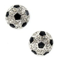 Sport Soccer Ball Crystal Rhinestone 14mm Drop Stud Fashion Earrings Silver