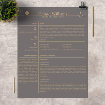 "Professional Resume Template | Creative Modern Resume | CV for Word | Medical Template | Nurse Practitioner CV | ""The Nurse Practitioner II"""