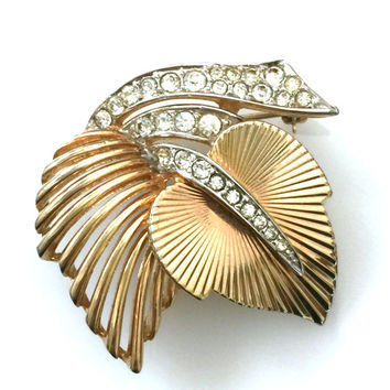 Boucher Leaf Brooch, Clear Paved Rhinestones, Gold Tone, Open Metal, Textured Metal, Layered Design, 1960s