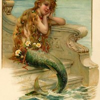 THE LITTLE MERMAID GIRL OCEAN SKY FLOWER VINTAGE POSTER REPRO