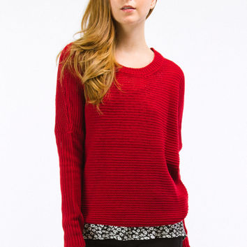 Red Knit Fisherman's Pullover Sweater