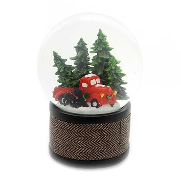 Christmas CAR WITH DOGS GLITTERDOME Glass Merry Christmas 130004