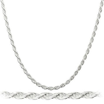 925 Italy Sterling Silver 1.5mm Nickel Free Rope Chain 6-40inch
