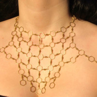Queen Bee Geometric Body Chain--Decorative Hexagon Chainmaille Body Harness--Lightweight & Elegant--Solid Brass Honeycomb Jewelry--Handmade