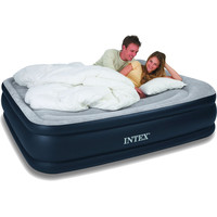 Queen-size Raised Airbed Air Mattress with Built-in Pillows and Pump