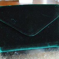 Vintage green velvet clutch gold chain evening formal boho gypsy punk goth witch mid century 1960s