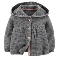 Carter's Cable-Knit Hooded Cardigan - Baby Girl
