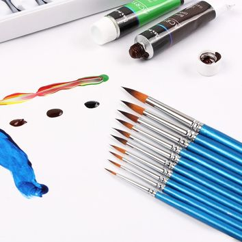 10 Miniature Brushes Pen refill Art Painting Watercolor Acrylic Paint Ink Face Painting Artist Brush