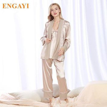 PEAPU3S 2017 New Women Silk Satin Pajamas Pyjama Sets Pijamas Nightgown Sleepwear Sexy Robes Bathrobe Longue Femme Night Gown STZ305