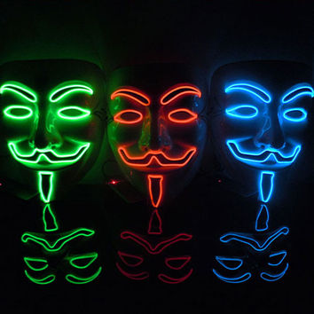 2016 New Year Cosplay Male V Vendetta Flash El Wire Led Glowing Mask