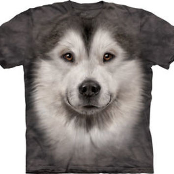 The Mountain Alaskan Malamute Face T-Shirt - Black Short Sleeve Graphic Tee
