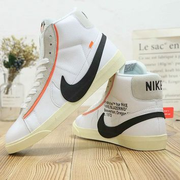 DCCK2 N480 Nike Zoom Blazer Mid Off White Leather Fashion Casual Skate Shoes
