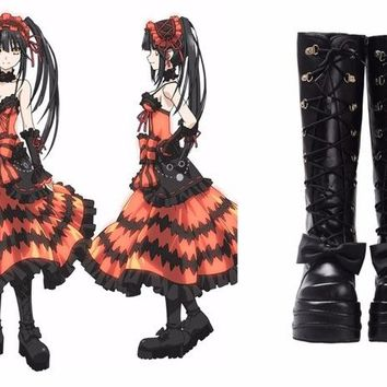 DATE A LIVE Tokisaki Kurumi Cosplay Shoes Lolita Black Boots Womens Girls Halloween High Boots PU Leather of High Quality