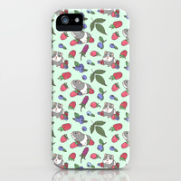 Mix berries and Guinea Pigs Pattern in Mint Green Background iPhone Case by noristudio