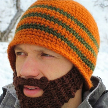 Knitted beard hat crochet hat warm winter warm with Personalized Funny = 1946340356