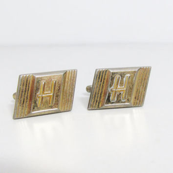 Vintage Cuff Links: Hickok Letter H, Initial Cuff Links