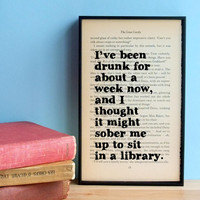The Great Gatsby quote 'drunk for about a week' vintage book page framed print