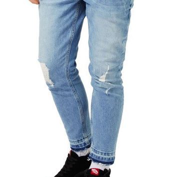 RIPPED CUTOFF STRETCH SKINNY FIT JEANS