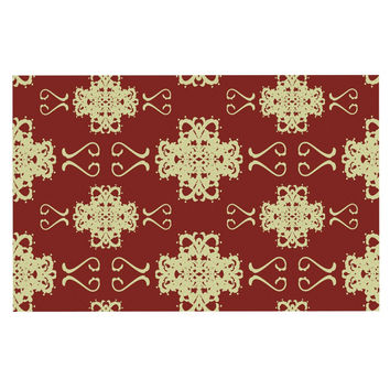 "Mydeas ""Asian Motif Damask"" Red Pattern Decorative Door Mat"