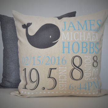 Whale Themed Personalized birth pillow cover