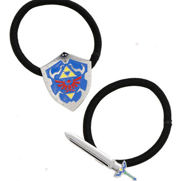 The Legend Of Zelda Sword & Shield Hair Tie Set