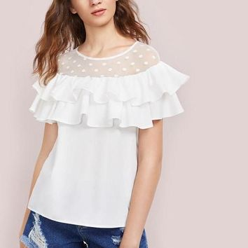 Dot Mesh Layered Flounce Top Elegant Women White Tops Short Sleeve Round Neck Cute Blouse