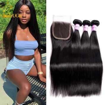HairUGo Brazilian Straight Hair 3 Bundles With Closure Brazilian Hair Weave Bundles 100% Remy Human Hair Bundles With Closure