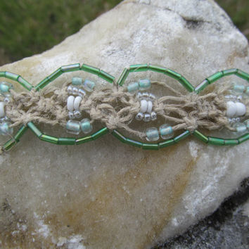 Green & White Beaded Macrame Hemp Bracelet by TheHempChick on Etsy
