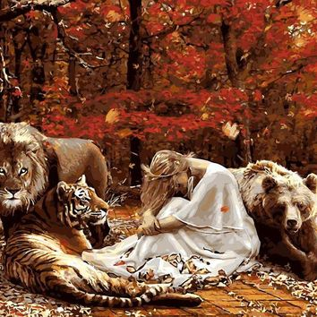 Frameless painting by numbers picture by numbers for home decor  PBN for living room 4050 lion tiger beer and girl