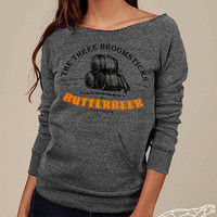 Harry Potter Butterbeer Off-The-Shoulder Sweater Woman's Soft Sexy Eco-Fleece Alternative Apparel Steel Grey