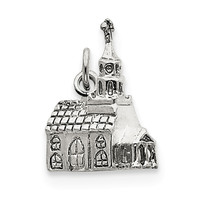 Sterling Silver 3-D Church Charm QC992