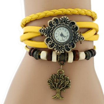 Genova Platinum TOP Ethnic Bracelet Watch Women indian charm Tree Vintage Genuine Leather wristwatch School Student