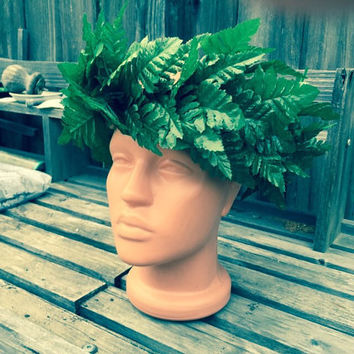 Tahitian dance costume headpiece fern, Hula headpiece, lei po'o, head hei, hawaiian dance