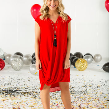 Cross front hilo red dress