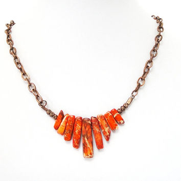 Orange Variscite Sticks  Spikes On Copper Chain, Orange Graduated Fan Stick  Long Strand Necklace, Tribal, Boho Jewelry