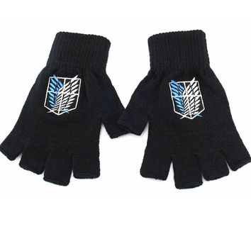 Cool Attack on Titan 2017 Anime  Gloves Survey Corps Logo Half finger Plush knit Glove Winter Warm Mitten Cosplay Gift AT_90_11