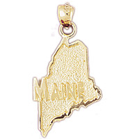 14K GOLD STATE MAP CHARM - MAINE #5091