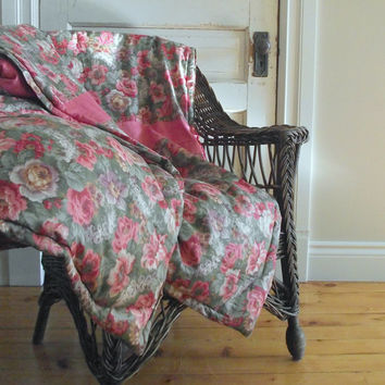 Vintage Feather Comforter / Rose Chintz Throw / Feathered Filled Quilt / Weighted Blanket / Cottage Chic Decor