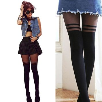 Black Sexy Women Temptation Sheer Mock Suspender Tights Pantyhose Stockings Cool Mock Over The Knee Double Stripe Sheer Tights