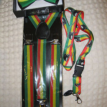 Rasta(green/yellow/red) Adjustable Bowtie,Adjustable Suspenders,Lanyard Combo