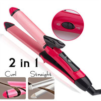Women's 2 in 1 Electric Hair Straightener Curling Curler Hot Styling Wave Wand Hair Curler Brush Hair Straightener &Curling Iron